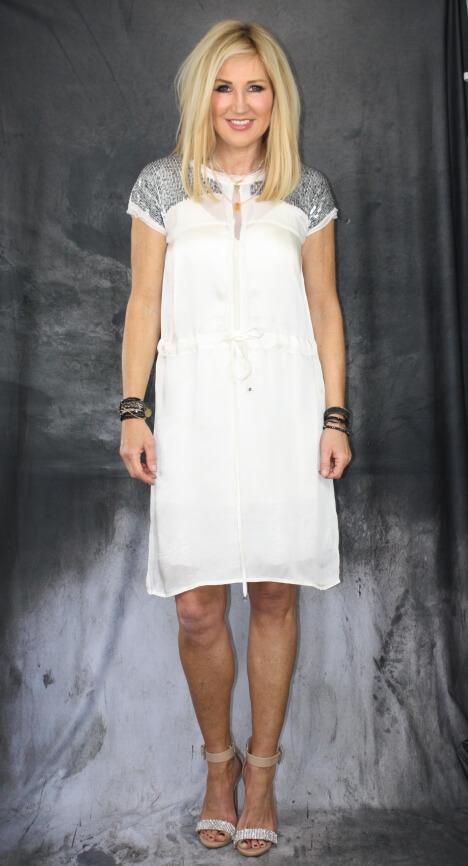 NÜ Kleid Pailetten weiß